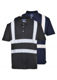 Personalised Navy or Black Hi Vis Polo Shirt Portwest F477