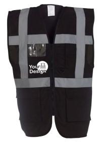 Personalised Black Hi Vis Vest With Pockets HVW801