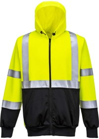 Personalised Two Colour Zipped Hi Vis Hoodie Portwest B315