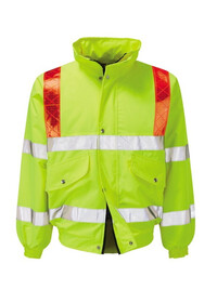 Personalised Hi Vis Bomber Jacket with Red Braces