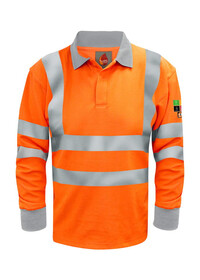 Flame Retardant ARC Orange Hivis Long Sleeve Poloshirt