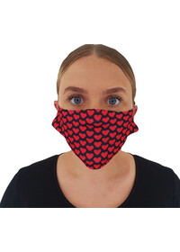 Face mask covering with heart pattern