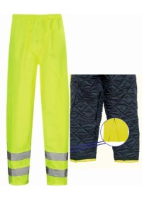 Padded Warm Lined Hi Vis Waterproof Overtrousers