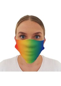Face mask covering with rainbow pattern