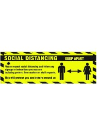 Social Distance Banner Keep Distance Yellow