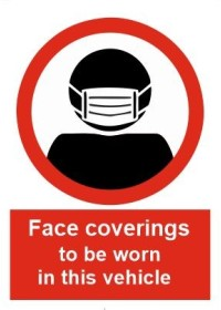 Face Coverings to be worn in this vehicle sign