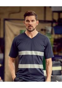 Hi Vis Top Cool light Weight V-Neck T-Shirt HVJ910
