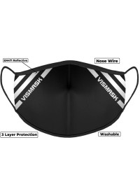 Black Hi Vis Face Mask with Reflective Stripes 3 layer