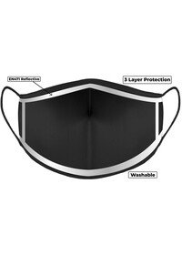 Hi Vis Black Custom Printed Face Mask With Reflective Edge