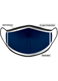 Navy Hi Vis Face Mask with Reflective Edge 3 layer