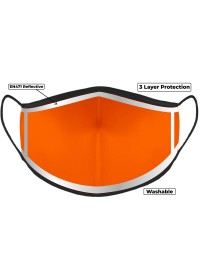 Orange Hi Vis Face Mask with Reflective Edge
