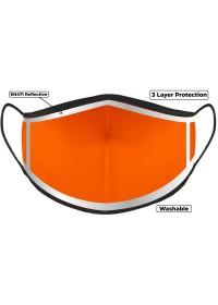 Hi Vis Orange Custom Printed Face Mask With Reflective Edge