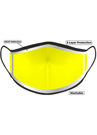 Yellow Hi Vis Face Mask with Reflective Edge
