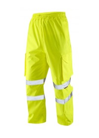 Yellow Hi Vis Waterproof Overtrousers with pockets Leo L01