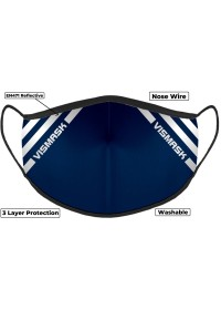 Navy Hi Vis Face Mask with Reflective Stripes 3 layer