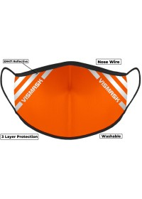 Orange Hi Vis Face Mask with Reflective Stripes 3 layer