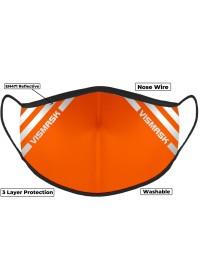 Hi Vis Orange Custom Printed Face Mask With Reflective Strips