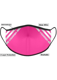 Pink Hi Vis Face Mask with Reflective Stripes 3 layer