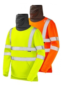 Leo SS06 Hi Vis Sweatshirt with built in Face Covering Snood