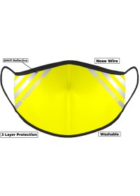 Yellow Hi Vis Face Mask with Reflective Stripes 3 layer
