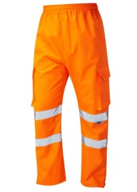 Leo L01 Orange Hi Vis Waterproof Overtrousers with pockets