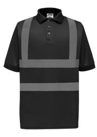 Black Polo Shirt with Hi Vis Stripes Yoko HVJ210