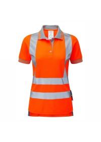 Ladies Orange Hi Vis Short Sleeve Polo Pulsar PR701