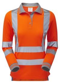 Ladies Orange Hi Vis Long Sleeve Polo Pulsar PR703