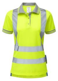 Pulsar P700 Ladies Yellow Hi Vis Short Sleeve Poloshirt