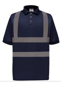 Navy Polo Shirt with Hi Vis Stripes Yoko HVJ210