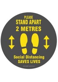 Social Distancing Floor Sticker Round Grey 2 Metres