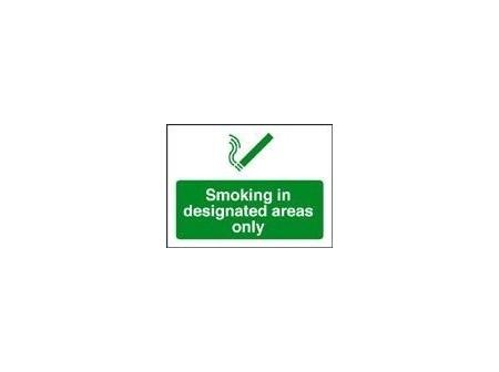 No Smoking in designated area sign