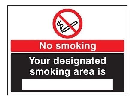 No smoking designated area sign