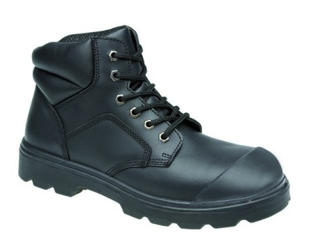 Black 6 Eyelet Boot Scuff Cap, TOESAVERS-2418,
