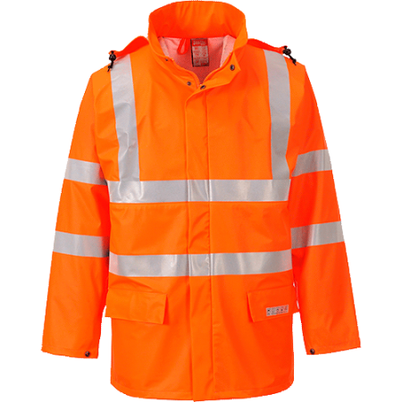 Orange flame retardent waterproof hi vis coat