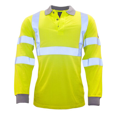 FR77 Flame Resistant Anti Static Hi Vis Long Sleeve Polo Shirt