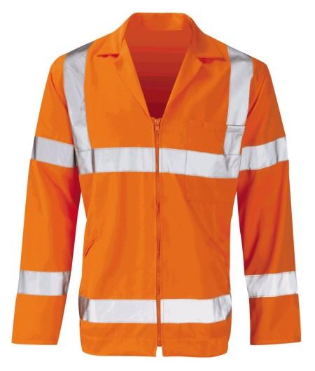 Orange Hivis Zipped Poly Cotton Work Jacket Orbit PCRTJ