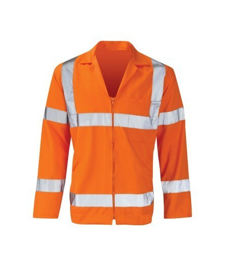 Orange poly cotton hi vis work jacket