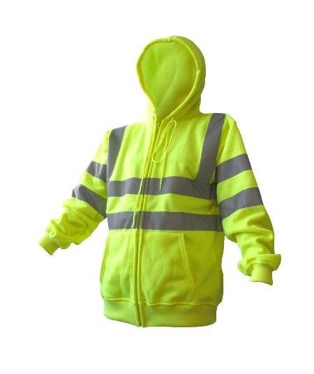 Hi Vis Zipped Hooded Sweatshirt