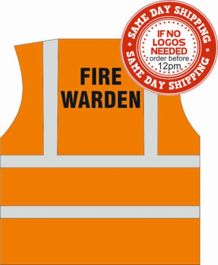 fire warden hi vis vest orange