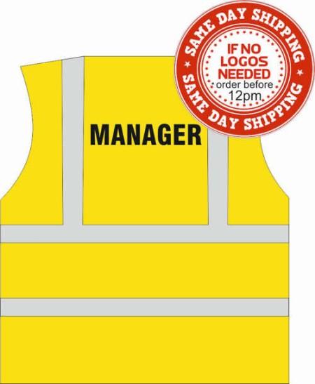 managers printed hi vis vest