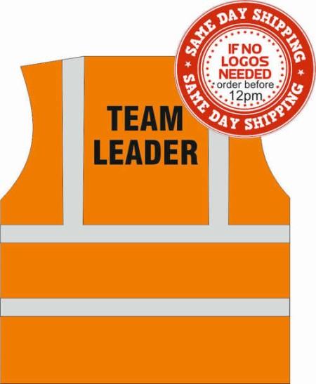 Hi vis vest team leader orange
