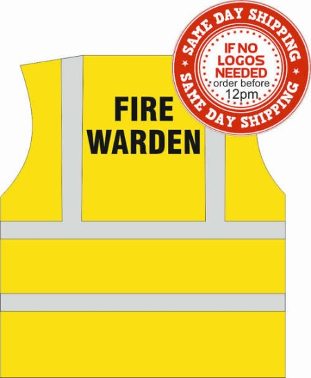Fire Warden hi vis vest with Fire Warden printed to rear