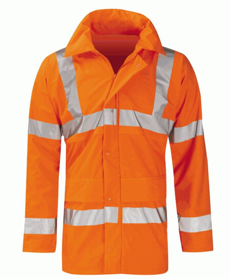 Waterproof Orange flexible hi vis coat go rt 3279