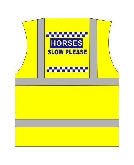 "Horse Riding vest Printed ""Horse Slow"" polite print"