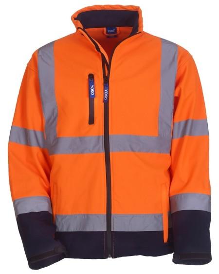 Orange Navy Hi Vis Softshell Jacket