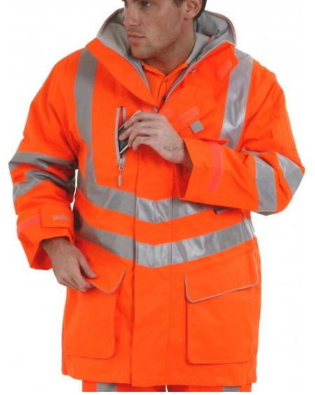 Pulsarail Padded Waterproof Orange Hi Vis Storm Coat  PR502
