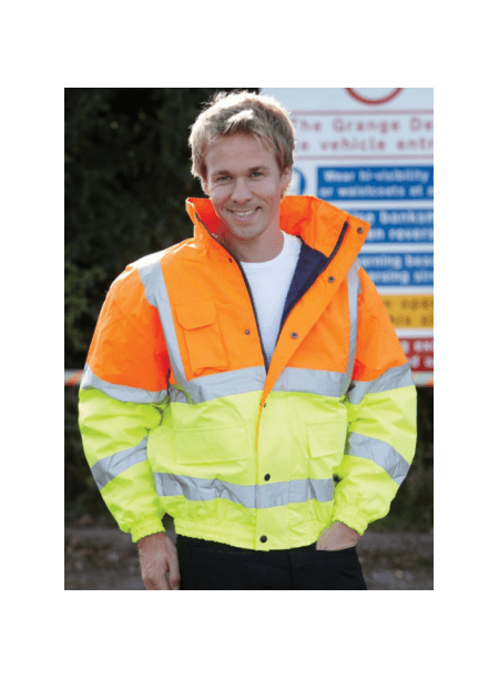 Hi Vis Bomber Jacket Yellow & Blue HVP218
