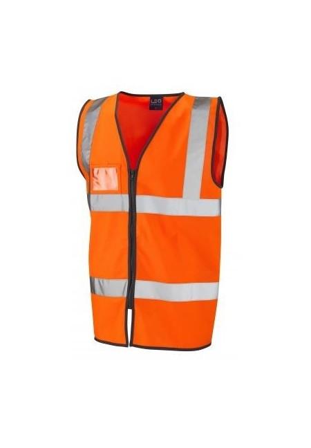 Orange Zip Front Hi Vis Vest with ID Pocket