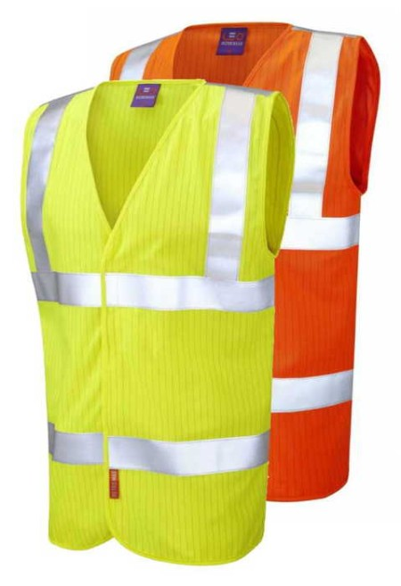 Flame retardant anti static hi vis vest yellow